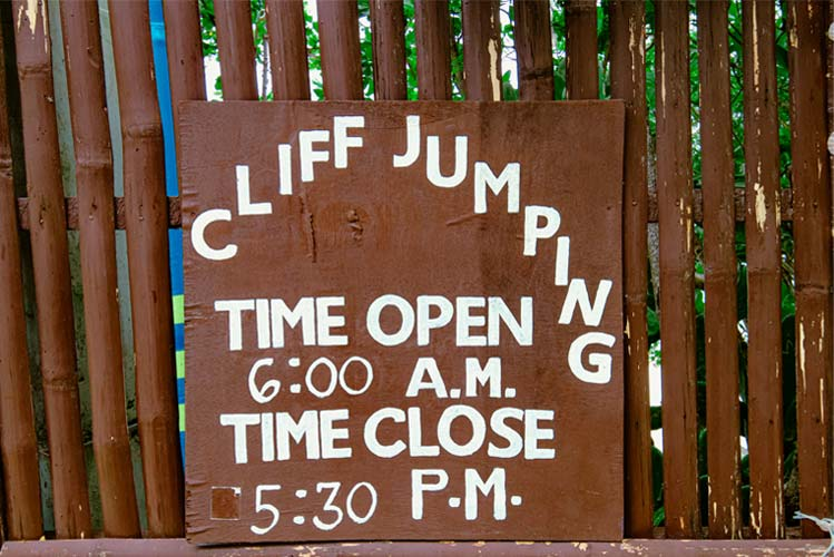 Cliff Jump Time Schedule