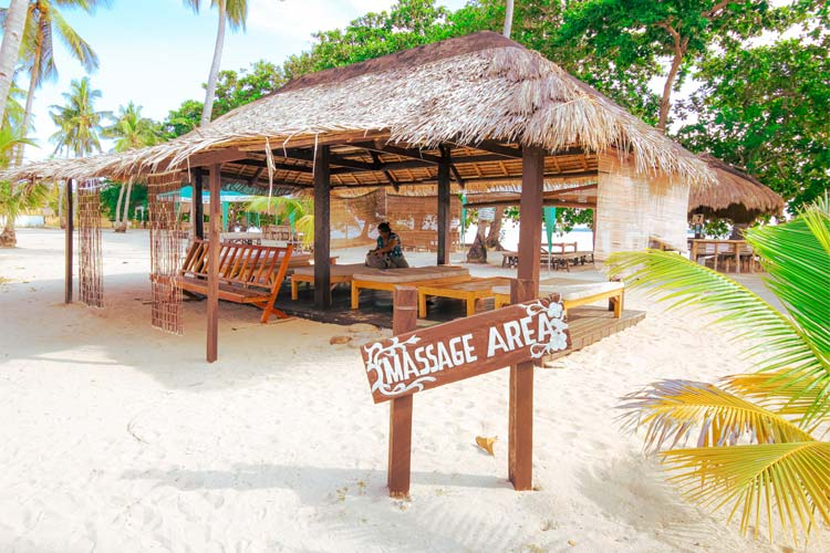 (The Massage Area by the bay where you could relax in the Island.)