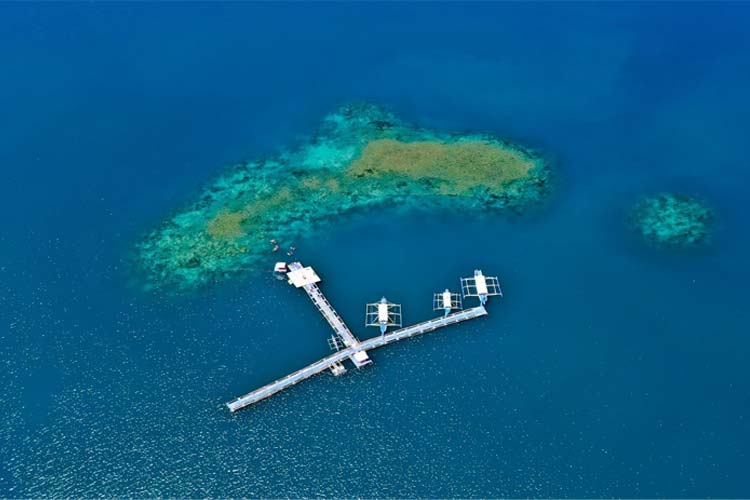 (An aerial drone shot of the Pambato Reef)